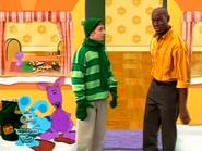 Steve and Blue in Purple Kangaroo's house