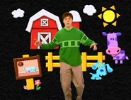 Joe, Blue, Snail, and a Purple Felt Cow in a Felt Farm
