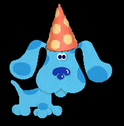 Blue with Red Cone hat with orange polka dots