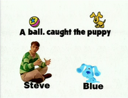 Steve and Blue Sitting on Their Names with a Messed Up Sentence Above Their Heads