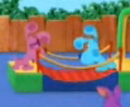 Magenta and blue on the bridge
