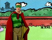 Stripe Man in a Superhero Comic Book