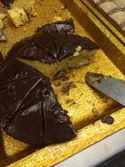 Hibachi grill yellow cake with chocolate frosting