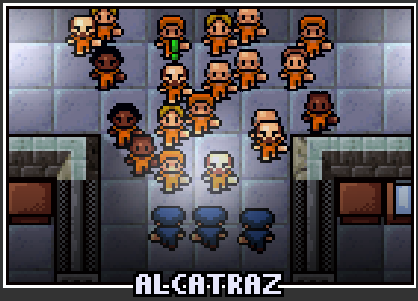 The prison selection screen for Alcatraz