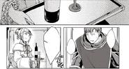 Riliane le ofrece vino a Leonhart.