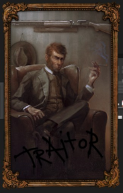 Semi-realistic portrait of a red-headed man with mutton chops, smoking in front of a cowboy hat and a rifle.