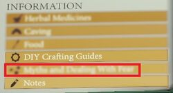 Myths and Dealing with Fear in the survival guide (blurred out as of v0.19c)