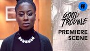 Good Trouble Season 2 Premiere Malika Steals Callie's Badge Freeform
