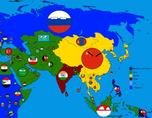 Religions of Asia in Countryballs