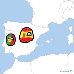 Iberian Peninsula map with Countryballs