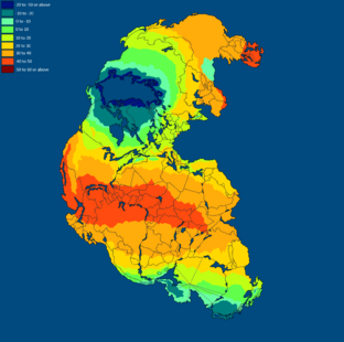 Temperature of Pangea Summer