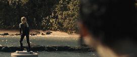 Katniss observando a Cashmere en la arena