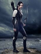 Katniss Everdeen in her catching fire outfit in a cool pose