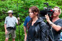 Jennifer Lawrence on Hunger Games set
