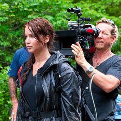 Jennifer Lawrence on Hunger Games set.jpg