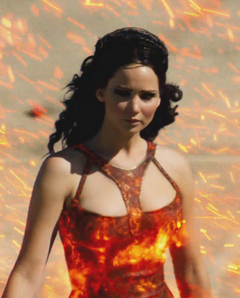 Katniss durante el desfile.png
