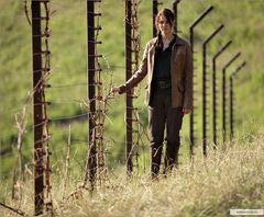 Katniss al lado de la valla.jpg