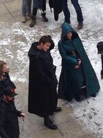 Jen and liam on set -3