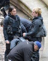 Josh and jen on set