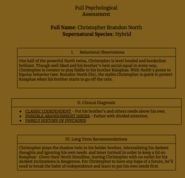 Christopher North Psychological Assessment