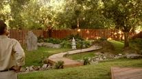 Miyagi overlooks his finished garden