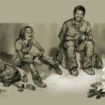 Drawing of ellie and joel near fire laughing.jpg