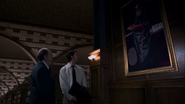 Judson and Flynn looking at Eldred the Truly Wonderful's painting