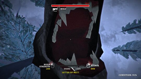 The player being attacked by a wolf.
