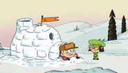 S1E24B Linc with his snow fort