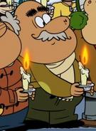 Hector wearing a beige scarf