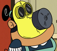 Rosa wearing a gas mask