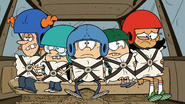 S5E09A The kids are all wearing helmets and pillows