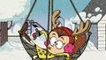 S2E01 Luan getting caught in Lana's reindeer net