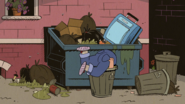 CS1E05B Miranda stuck in the trash can