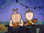 Bessie and Penny eating pizza padoodles