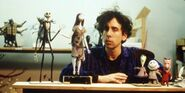 Tim Burton with some of the puppets