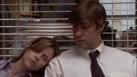 Pam fall asleep on Jim's Shoulder