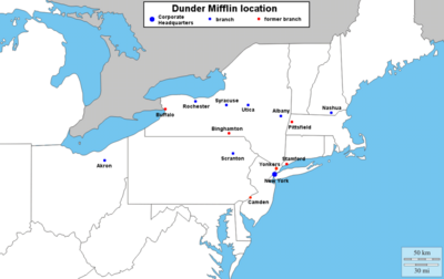 location of Dunder Mifflin known branches