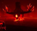 Corrupted Cernos confronting The Hunter in her Coliseum.
