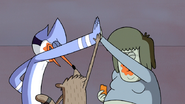 S6E22.137 Mordecai, Rigby, and Muscle Man Hi-Five Each Other