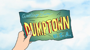 S7E01.051 Sad Sax Guy Holding a Dumptown USA Postcard 02