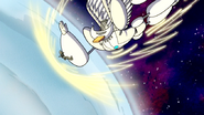 S6E24.529 Robo Cassowary Being Karate Chopped Towards Earth