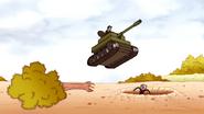 S6E18.233 Rich Steve Driving a Tank onto Benson