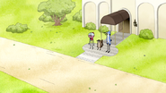 S6E21.244 Mordecai, Rigby, and Benson Watching the Party Horses Leave