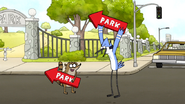 S6E22.045 Mordecai and Rigby as Sign Twirlers