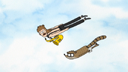 S7E01.059 Rigby and Sad Sax Guy Flying