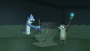 S6E23.101 Mordecai and Rigby Working Together to Unclog a Toilet