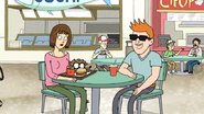 S6E19.073 Rigby Walking by a Couple's Table