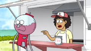 S6E19.083 The Hot Dog Vendor Pointing at a Tall Guy and Short Guy
