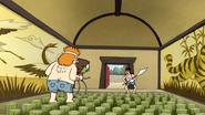 S4E13.133 Sensai and Benson Confront Dark Brown Hair Guard